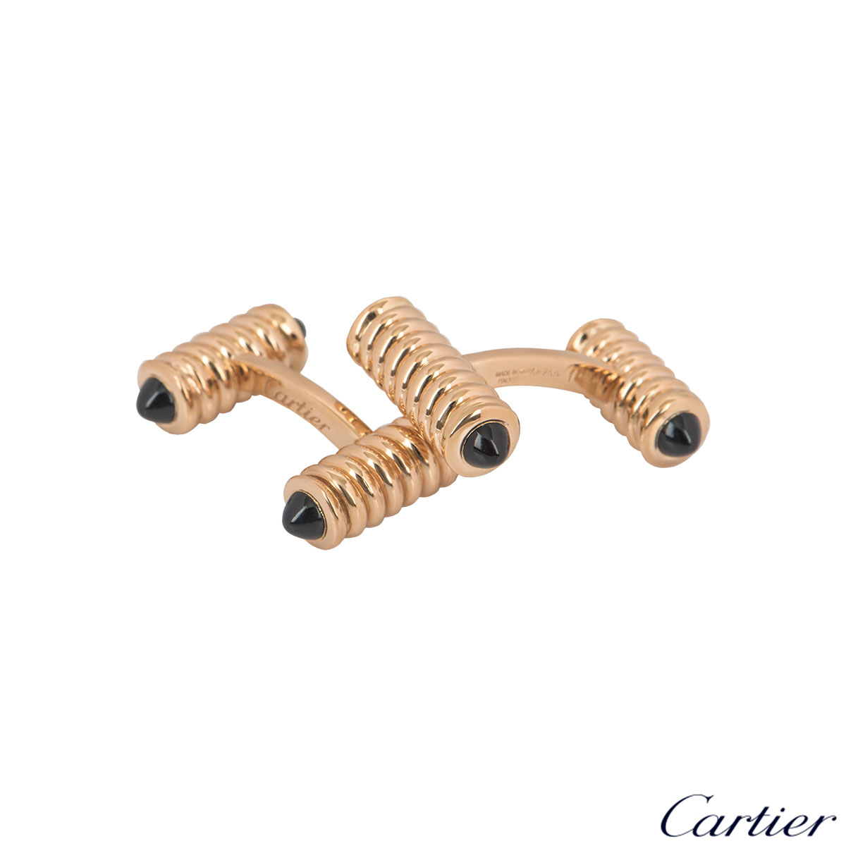 Cartier Rose Gold Onyx Cufflinks